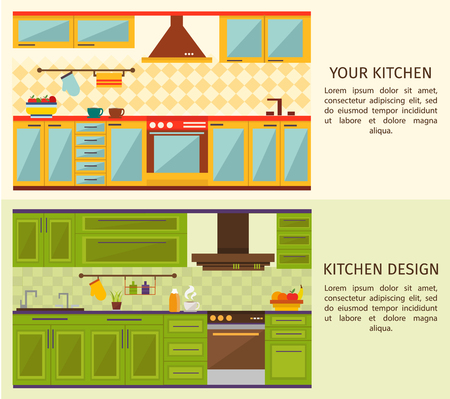 forniture: Kitchen interiors horizontal banners with yellow blue forniture and green wall cupboards and cabinets isolated vector illustration Illustration