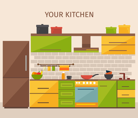 kitchen tile: Kitchen interior design with colored pots yellow green cabinets household appliances grey tile beige wall vector illustration Illustration