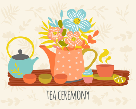 herbal background: Tea ceremony hand drawn design with utensils flowers on wood table on beige herbal background vector illustration Illustration