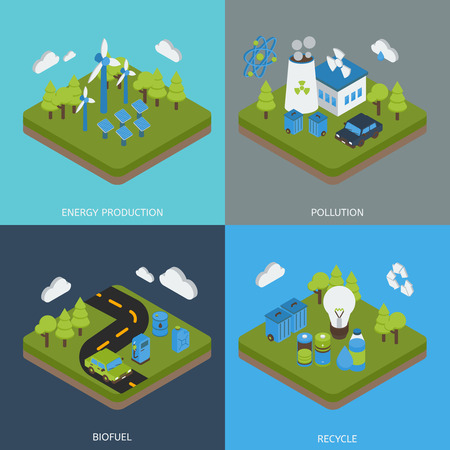 biofuel: Ecology isometric compositions with green energy production environment pollution biofuel waste recycling isolated vector illustration