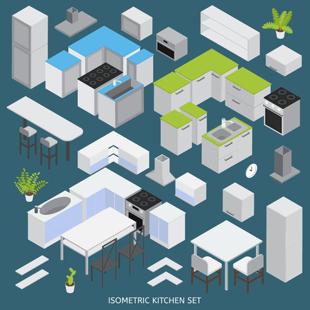 cupboards: Isometric kitchen elements set with domestic appliances tables chairs wall cupboards on blue background isolated vector illustration