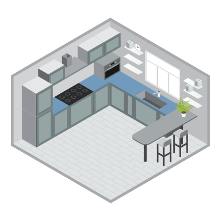kitchen window: Isometric kitchen design with grey blue cabinets microwave bar counter stools window tiled floor clock vector illustration Illustration