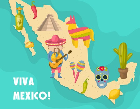 distinctive: Mexican map poster with figure of Mexican who playing a guitar and distinctive features of the country vector illustration Illustration