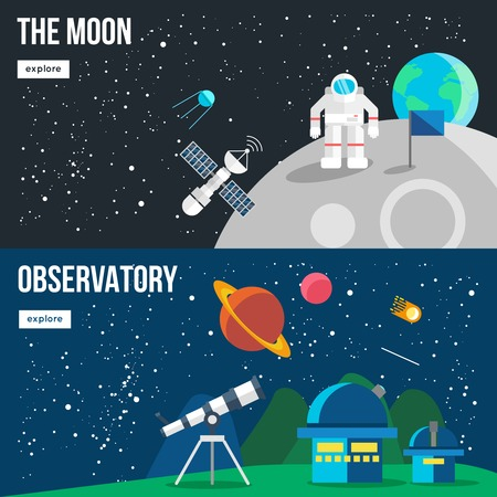 observatory: Two colored horizontal space universe banner set on the moon and observatory themes with white buttons vector illustration