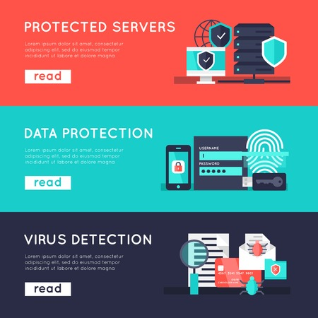 detection: Data protection horizontal banners set with secure servers information safety virus detection isolated vector illustration