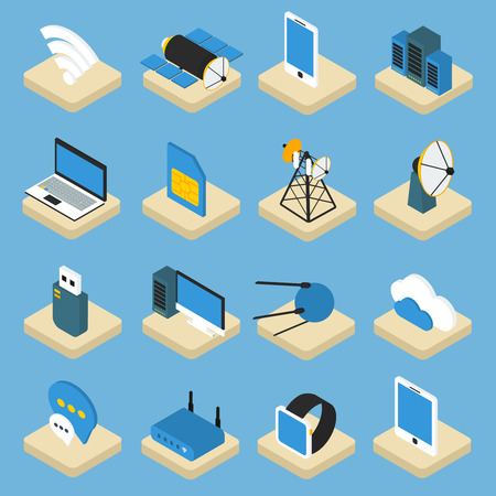 wireless: Wireless technology isometric icons on pedestals with radio equipment computers satellites on blue background isolated vector illustration