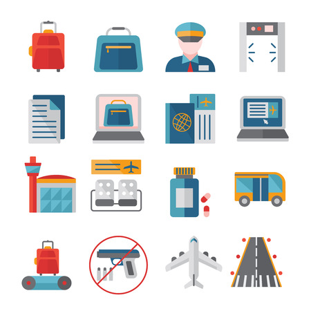 airport customs: Airport flat icons set with customs and security control online registration and travel documents isolated vector illustration Illustration