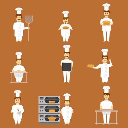 tan: Baker set of characters with bread and cooking tools on tan background isolated vector illustration