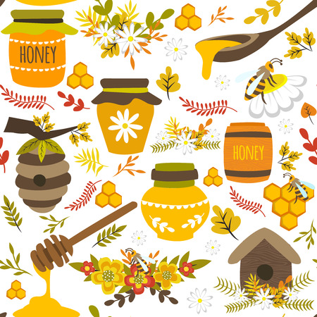 nectar: Honey hand drawn seamless pattern with bee products pots barrel flowers leaves on white background vector illustration
