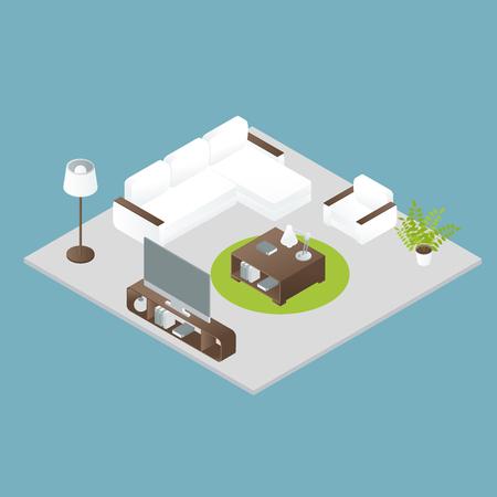 green carpet: Isometric interior design of white soft furniture round green carpet grey floor on blue background vector illustration