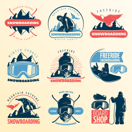 freeride: Snowboarding emblem set in color with mountain extreme winter sports freeride and board shop descriptions vector illustration