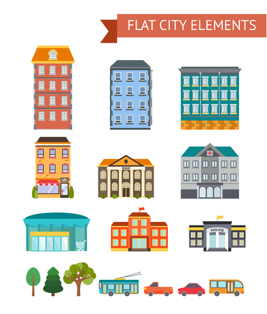 administrative buildings: Flat city elements with residential and administrative buildings shop and cafe transport trees isolated vector illustration