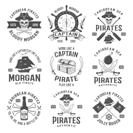 cocked hat: Sea robbers monochrome emblems with piratic symbol compass weapons sailboat rum bottle chest ribbon isolated vector illustration