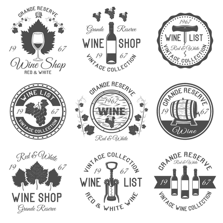 wood creeper: Wine shop black white emblems with leaves and bunches of grapes wooden barrels glassware isolated vector illustration