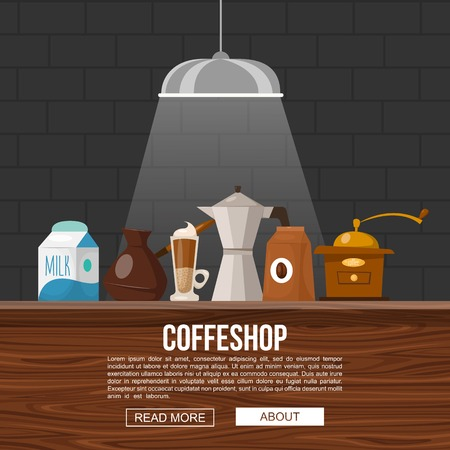 bar counter: Coffee shop design with objects for making beverages on wooden bar counter in light beam vector illustration