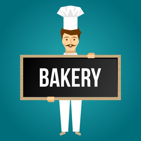 signboard design: Baker holds signboard design with cheerful young single man in white uniform on blue background vector illustration