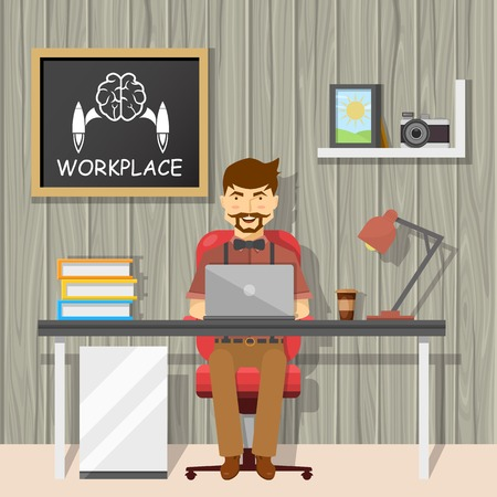textural: Hipster at workplace design with cheerful man behind desk and chalkboard on textural grey wall vector illustration