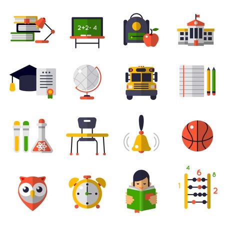 Jeu d'icônes plat de l'éducation de base isolé et coloré avec des attributs pour l'illustration vectorielle d'étude