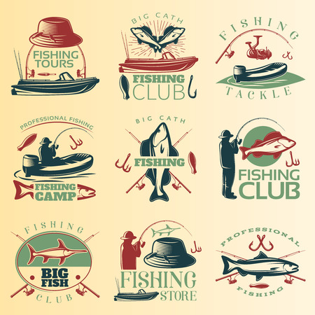 tackle: Fishing colored emblem set with fishing tours club tackle and camp descriptions vector illustration