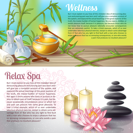 spa salon: Two colored spa salon compositions or leaflet with space for text and titles wellness and relax spa vector illustration