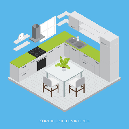 tiled stove: Kitchen interior isometric design with grey cabinets green working surface table chairs on blue background vector illustration
