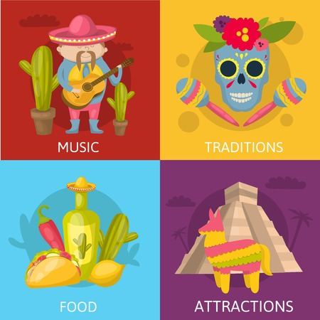 traditions: Mexican colored compositions four square icon set with music traditions food and attractions descriptions vector illustration
