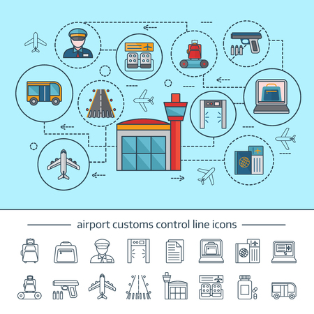 airport customs: Airport service concept with customs and security control infographics on blue background linear icons isolated vector illustration