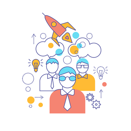 smart goals: Teamwork linear colored composition with process of collaboration of smart persons in startup company vector illustration