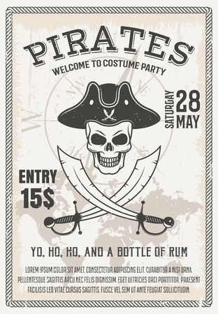cocked hat: Pirates costume party poster with smiling skull crossed sabers on world map and compass background vector illustration Illustration