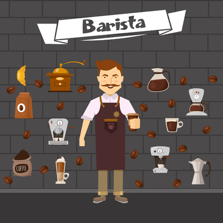 mustached: Barista and coffee composition with  roasted beans objects for making drinks on brick wall background  vector illustration