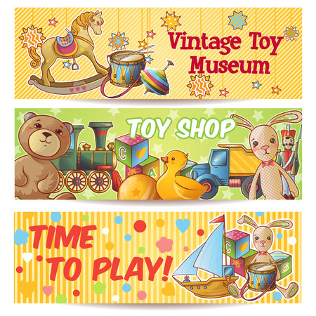 Three horizontal kids toys banner set with vintage toy museum toy shop time to play descriptions vector illustration Illustration
