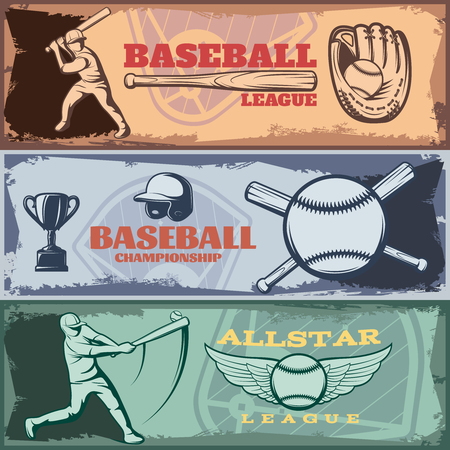 batters: Baseball tournaments horizontal banners set with batters sports outfit trophy on grunge style background isolated vector illustration