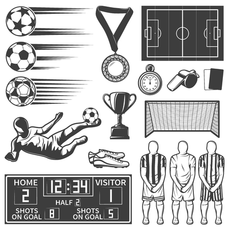 referees: Soccer monochrome elements set with team during penalty sports equipment football boots referees objects isolated vector illustration