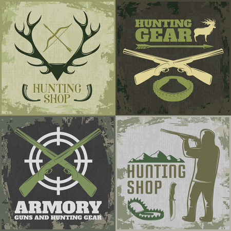 armory: Four square hunting icon set with hunting shop hunting gear and armory descriptions vector illustration Illustration