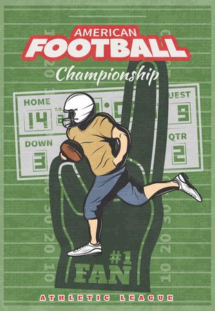 foam hand: American football championship poster with running player foam hand scoreboard on green worn field background vector illustration