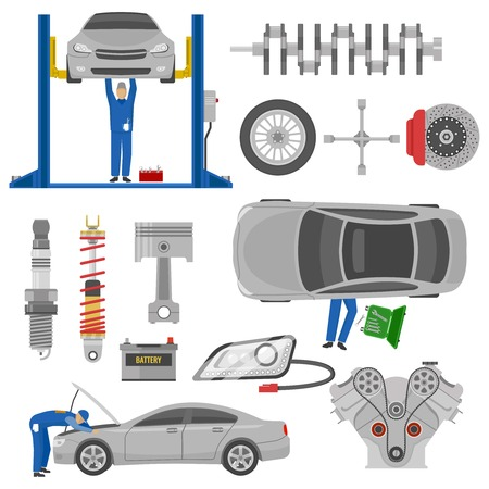 spare: Car service decorative elements set with working mechanics auto spare parts hoist tools isolated vector illustration