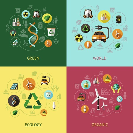 green environment: Four square ecology colored compositions with green world ecology organic descriptions vector illustration