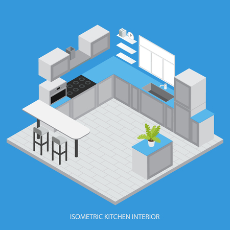 cabinets: Isometric kitchen interior with cabinets cupboards white counter window tiled floor microwave on blue background vector illustration