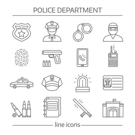 police equipment: Police department linear icons set with building officer and criminal professional equipment and documents isolated vector illustration