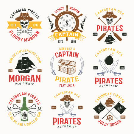 colored bottle: Pirates colored emblems with weapons sailboat green bottle brown helm and oars yellow ribbon isolated vector illustration