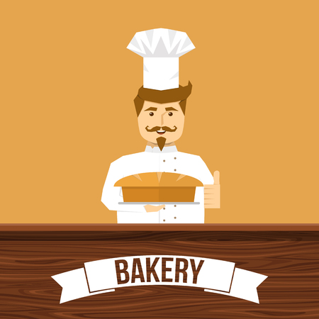 tan: Baker and bread design with smiling man behind wooden counter on tan background vector illustration