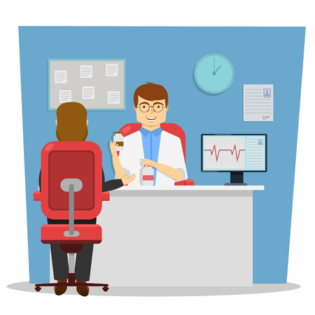 cardiologist: On reception at doctor design of conversation with cardiologist about therapy on blue background vector illustration