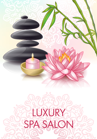 salon background: Spa salon poster with cosmetic stones and luxury spa salon title on colored background vector illustration