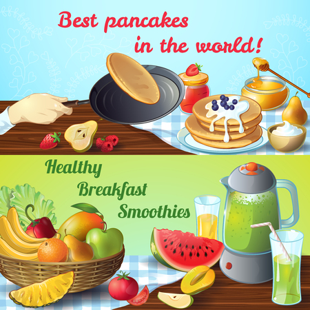 titles: Two breakfast colored conceptswith titles best pancakes and healthy breakfast smoothies vector illustration