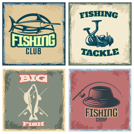 tackle: Fishing colored compositions with four square icon set with fishing club fishing tackle big fish and fishing camp descriptions vector illustration Illustration