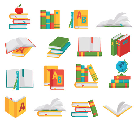 colored school: Colored school books icon set books in different positions in different colors and on different themes vector illustration Illustration