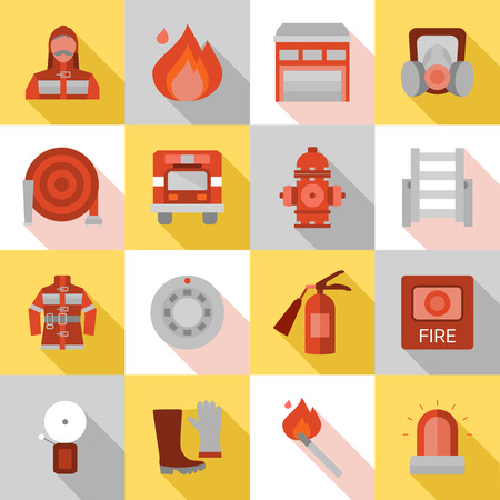 protective clothing: Fire station long shadow flat icons with equipment and protective clothing truck and building isolated vector illustration
