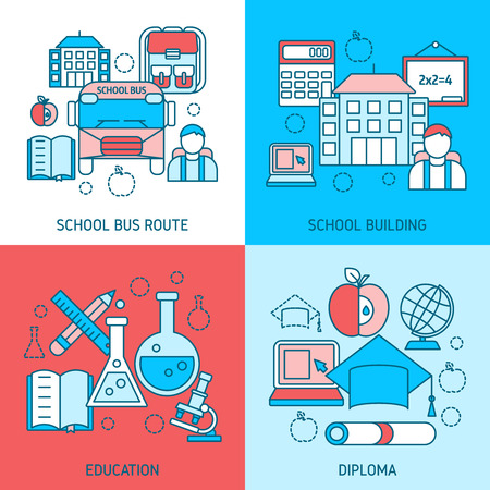 disciplines: School education linear compositions with bus route study building scientific disciplines diploma isolated vector illustration