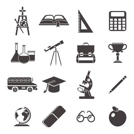 convivencia escolar: Escuela de negro aislado conjunto de iconos con elementos de la vida escolar y la necesidad de estudiar los accesorios ilustración vectorial