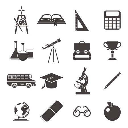 school life: School black isolated icon set with element of school life and need to study accessories vector illustration